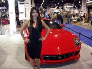 SEMA 2008 booth babe 5 and Ferrari