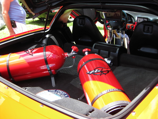Dean's custom Corvette - two 8″ subwoofers setup to look like NO2 bottles