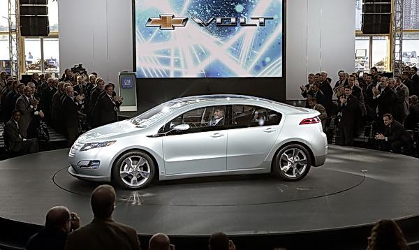 GM Vice Chairman Bob Lutz drives the production version Chevrolet Volt