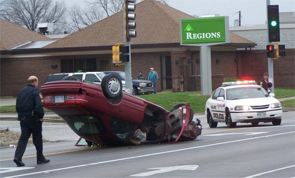 overturned car accident
