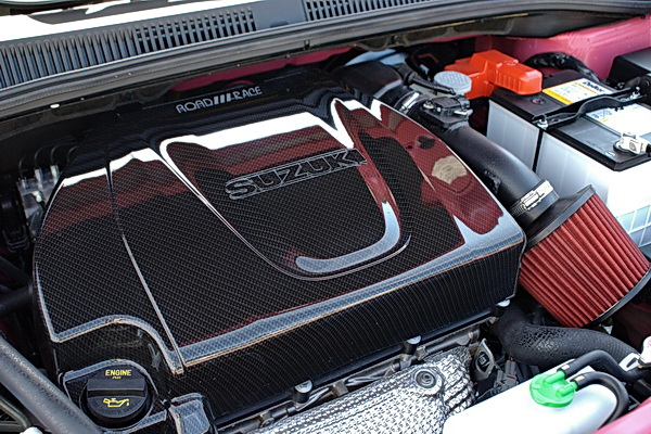 Engine bay features carbon fiber engine cover and cold air intake