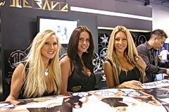2009 SEMA booth babes signing autographs