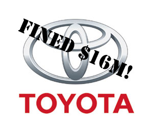 Toyota fined $16M