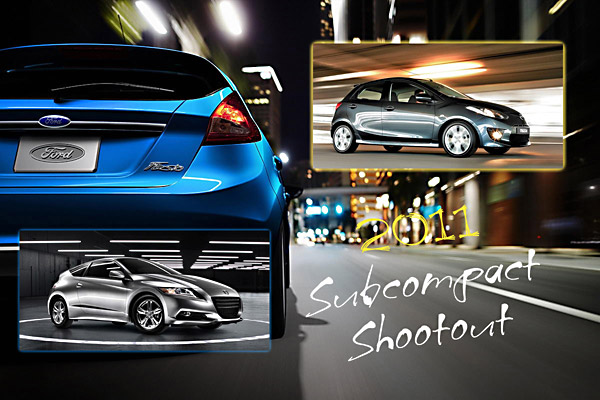 2011 subcompact shootout by CarReview.com - Ford Fiesta, Mazda 2, Honda CR-Z