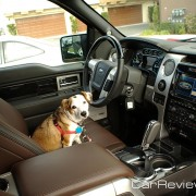 Tessa uses her inside voice when inside the quiet cabin of the 2011 Ford F-150