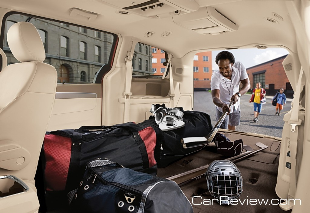 VW Routan has 144 cubic feet of cargo space and stowable 3rd row seats