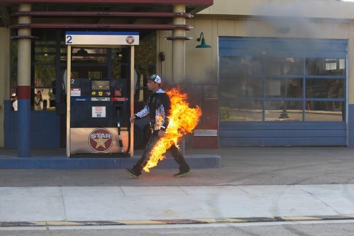 Ken Block is on fire in Gymkhnana Four