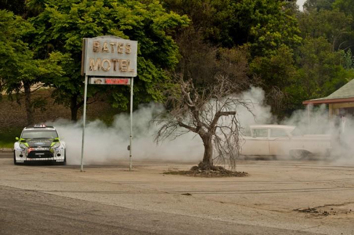 Ken Block Gymkhana 4 drifts through Bates Motel