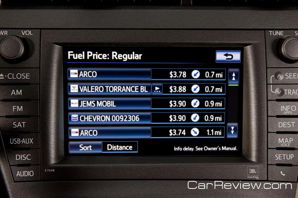 2012 Prius Plug-in -- shop fuel prices using XM satellite radio feature